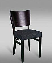 Stuhl Leblon 15 mit Stoffbezug, Farbe: Schwarz - Abmessungen: 88 x 43 x 42 cm (H x B x T)