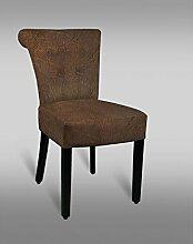 Stuhl Leblon 24 mit Stoffbezug, Farbe: Braun Vintage - Abmessungen: 85 x 45 x 49 cm (H x B x T)