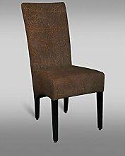 Stuhl Leblon 33 mit Stoffbezug, Farbe: Braun Vintage - Abmessungen: 106 x 45 x 50 cm (H x B x T)