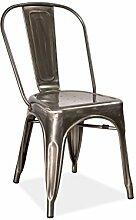 Stuhl Loft gebürstetem Stahl Stapelbar Pflegeleicht Metal Retro Sitz Bistro
