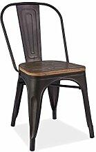 Stuhl Loft Nussbaum graphit Stapelbar Pflegeleicht Metal Retro Sitz Bistro