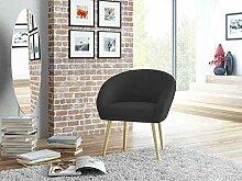 Stuhl, Loungestuhl, Loungesessel, Relaxstuhl, Relaxsessel, Clubsessel, TV-Sessel, Wohnzimmersessel, Webstoff, schwarz