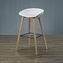 Stuhl Massivholz Bar Stuhl Designer Bar Hocker Einfache Nordic Bar Schreibtisch Stuhl Hohe Hocker Moderne Creative Bar Hocker Barhocker ( Farbe : Weiß , größe : 64cm )