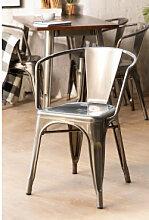 Stuhl mit Armlehnen LIX gebürstet Eisen Sklum