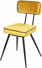 Stuhl mit gelbem Samtbezug aus schwarzem Metall