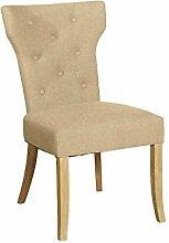 Stuhl mit Leinenbezug Creme (2er Set) Pharao24