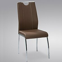 Stuhl Ralf Esszimmerstuhl Sessel Küchenstuhl verchromt (4, cappuccino)