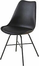 Stuhl, schwarz mit schwarzen Metallbeinen Wembley
