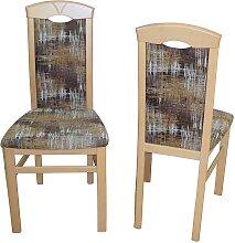Stuhl Set aus Buche Massivholz Bunt Webstoff (2er