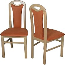 Stuhl Set aus Buche Massivholz Orange Stoff (2er