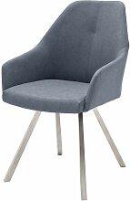 Stuhl Set in Blau Grau Armlehnen (2er Set)