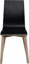 Stuhl Set in Schwarz Eiche Bianco Holzbeine (2er
