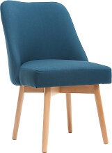 Stuhl skandinavisch Stoff Blaugrün Beine Holz