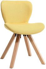 Stuhl skandinavisch Stoff Gelb Beine helles Holz