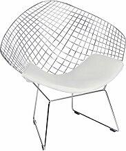 Stuhl Stuehle Armlehnenstuhl Esszimmerstuehle Replika Diamond-Chair Bertoia weiss