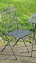 Stuhl Toscana Metall dunkelgrau Gartenstuhl Sitzstuhl Klappstuhl Metallstuhl