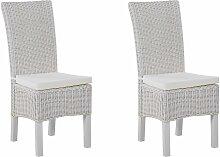Stuhl Weiß 2er Set aus Rattan mit hohen