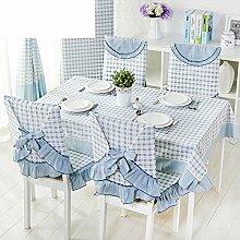 Stuhlhusse,Garten Tischdecke Stoff Moderne Einfache Tischdecke Kissen Und Bezüge Für Die Stühle Plaid Frischen Kaffee Tischdecke-C