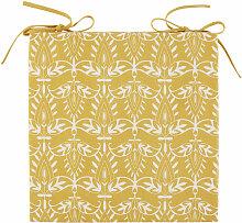 Stuhlkissen aus Baumwolle, gelb mit weißen