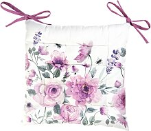 Stuhlkissen ROSEN 40x40cm weiß rosa Clayre & Eef