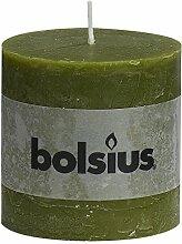 Stumpenkerze Rustic 100/100, oliv