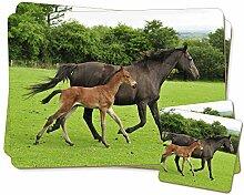 Stute mit Fohlen Newborn Zwillings Platzdeckchen