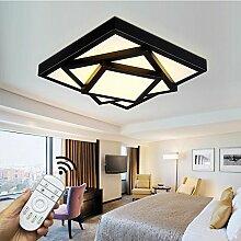 Style home 54W LED Deckenleuchte für Wohnzimmer Schlafzimmer Kinderzimmer Küche voll dimmbar mit Fernbedienung Schwarz Quadratisch 6906F