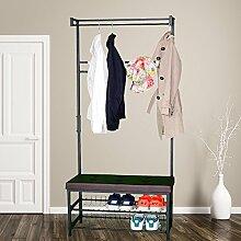 Style home Garderobenständer Kleiderständer 2 Ablagefächer Sitzmöglichkeit 5 Haken Kleiderstange SR-1807235-01