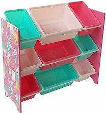 Style home Kinderregal mit 9 Kunststoffboxen