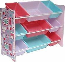 Style home Kinderregal Spielzeugregal mit 9 Boxen