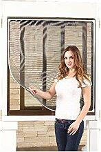 Style home® Magnet Kunststoff-Rahmen Fliegengitter Fenster Insektenschutz Mückengitter Neu (130*150, grau)