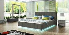 Stylefy Arete Polsterbett Grau 180x200 mit LED