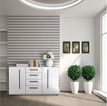 Stylefy Artana Kommode Weiß Matt | Weiß Hochglanz