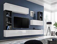 Stylefy Dafne Wohnwand Weiß Hochglanz | Schwarz