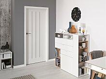 Stylefy Dakkara II Kommode mit Regal Weiß Eiche