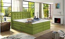 Stylefy Demeter Boxspringbett Grün 180x200
