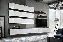 Stylefy Fli J1 Wohnwand Schwarz Matt | Weiß