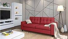 Stylefy Gerd Einzelsofa Rot Kunstleder