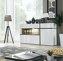 Stylefy Hamar Highboard Weiß Hochglanz | Weiß