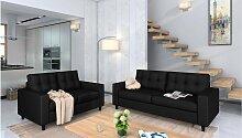 Stylefy Linn Polstergarnitur Schwarz Kunstleder