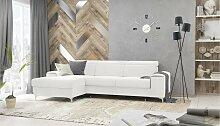 Stylefy Lino Ecksofa Weiß Velours