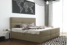 Stylefy Olomana Polsterbett Kunstleder 200x200 cm