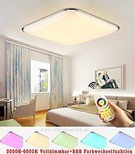 Stylehome® 20W RGB LED Deckenlampe Küchenlampen 6310 Silber 3000-6000K volldimmbar mit Farbwechselfunktion 450x450mm