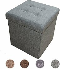 Stylehome® Sitzbank Sitzhocker Aufbewahrungsbox mit Stauraum faltbar belastbar bis 300 kg Leinen 38 x 38 x 38 cm (Grün-Grau)