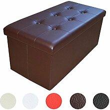Stylehome® Sitzbank Sitzhocker Aufbewahrungsbox mit Stauraum faltbar belastbar bis 300 kg Kunstleder 76 x 38 x 38 cm (Braun)