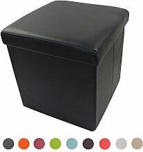 Stylehome® Sitzbank Sitzhocker Aufbewahrungsbox mit Stauraum faltbar belastbar bis 300 kg Kunstleder 38 x 38 x 38 cm (Schwarz)