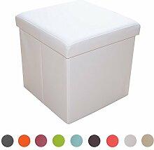Stylehome® Sitzbank Sitzhocker Aufbewahrungsbox mit Stauraum faltbar belastbar bis 300 kg Kunstleder 38 x 38 x 38 cm … (Weiß)