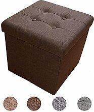 Stylehome® Sitzbank Sitzhocker Aufbewahrungsbox mit Stauraum faltbar belastbar bis 300 kg Leinen 38 x 38 x 38 cm (Dunkelbraun)