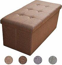 Stylehome® Sitzbank Sitzhocker Aufbewahrungsbox mit Stauraum faltbar belastbar bis 300 kg Leinen 76 x 38 x 38 cm (Dunkelbraun)