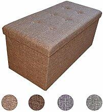 Stylehome® Sitzbank Sitzhocker Sitzwürfel Aufbewahrungsbox Fußbank Hocker faltbar belastbar Leinen Farbauswahl Größenauswahl 2676-12-Braun